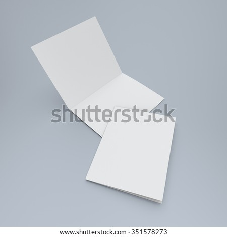 blank two-leaf brochure isolated. render
