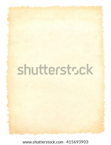 Blank vintage brown paper background, craft material, isolated on white