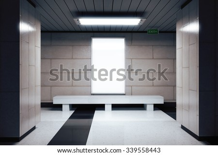 Blank white billboard in underground passage, mock up 3D Render