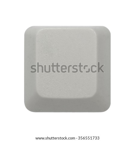 Blank white computer keyboard key isolated