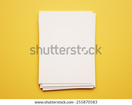 Blank White Paper Notepad isolated on yellow background