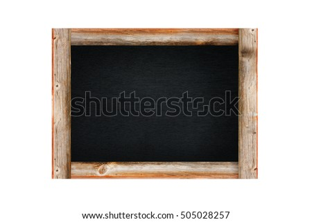 Blank wooden blackboard label , chalkboard garden sign and tag price isolated on a white background.