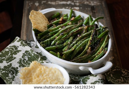 Blistered Green Beans with Parmesan Crisps