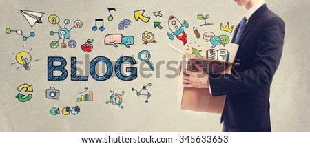 Blog concept with businessman holding a cardboard box