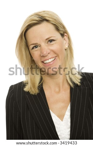 Blond businesswoman in a suit smiles against a white background