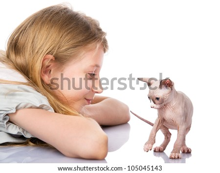 Blond girl and newborn sphynx cat.  isolated on white background