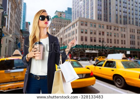 Blond girl shopaholic in Manhattan New York shopping with coffee Photomount