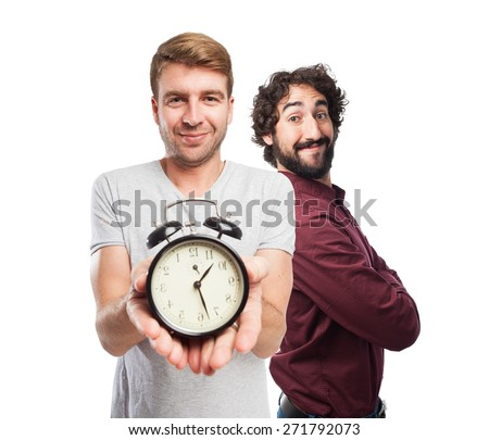blond man with a clock