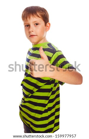 blond toddler boy in striped shirt, holding his fingers up, showing the sign yes on a white background