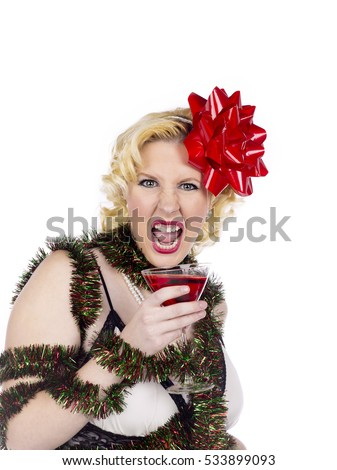 Beautiful Woman Christmas Funny Reindeer Ears Stock Photo 499970743 - Shutterstock