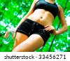 Blonde haired woman exercising, from a complete series of photos. - stock photo