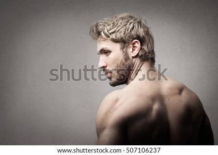 Blonde man with muscular back