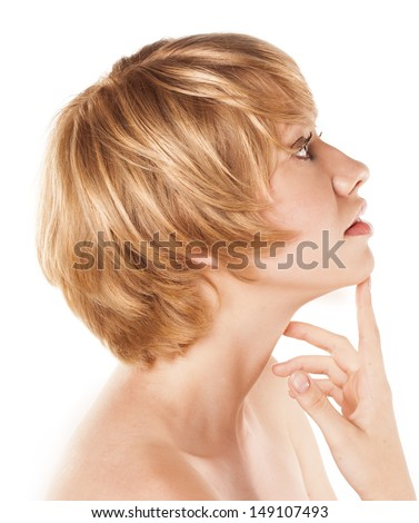 blonde with short hair. studio white background