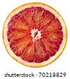 Blood red orange slice isolated on white background - stock photo