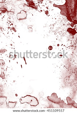 Blood stains and splatters on white
