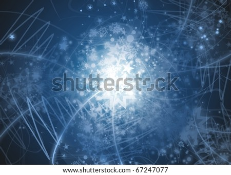 Blue abstract snowflakes background with stars, lines and snowflakes