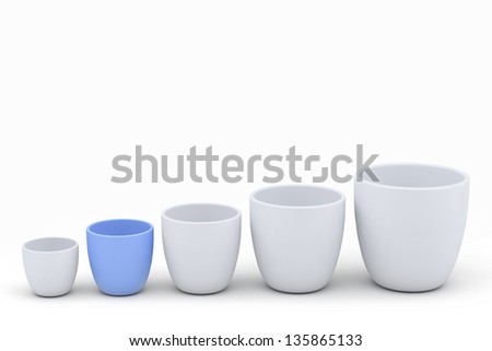 Blue and white ceramics flowerpot set with copy space, rendered models