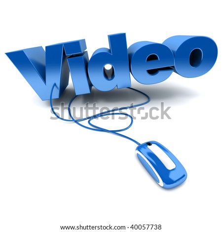 Blue and white 3D illustration of the word video connected to a computer mouse