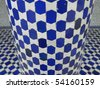 blue and white mosaic for background - stock photo