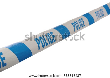 Blue and White Police Line Do Not Cross Tape Line at Angle isolated on a white background