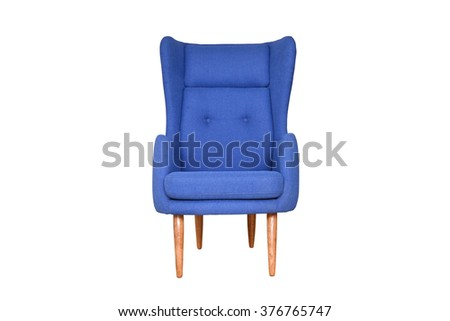 Blue armchair with high back