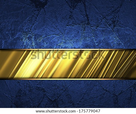 Blue background with gold cutout and gold trim. Design template