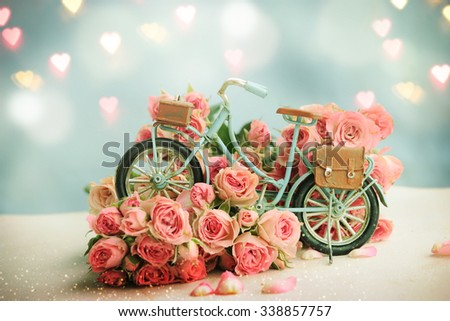 Blue Bicycle With Beautiful Flower . Mother Day