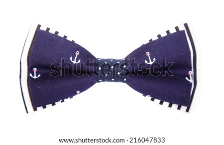 blue bow tie with a pattern of marine anchors on an isolated white background