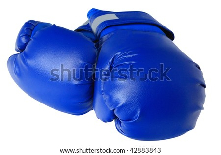 blue boxing gloves on white background isolated