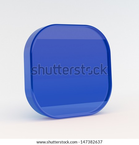 Blue button render on white isolated with clipping path