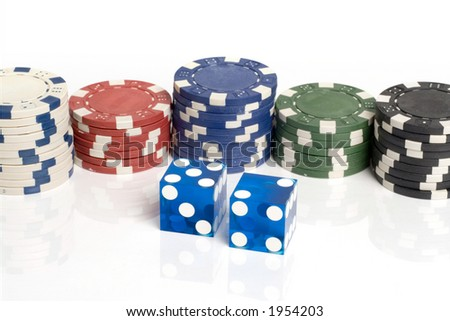 Blue Casino Dice with Lucky 7 and chips