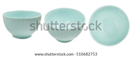 Blue ceramic bowl isolated on white background. View from side and from top