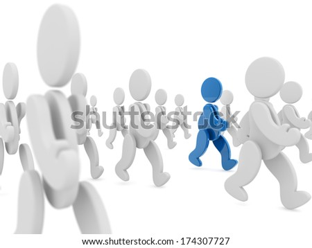 blue character walking in a crowd of white characters