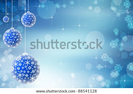 Blue christmas lights background with baubles