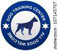 Blue Circle Dog Training Center Isolated on White Background - stock vector