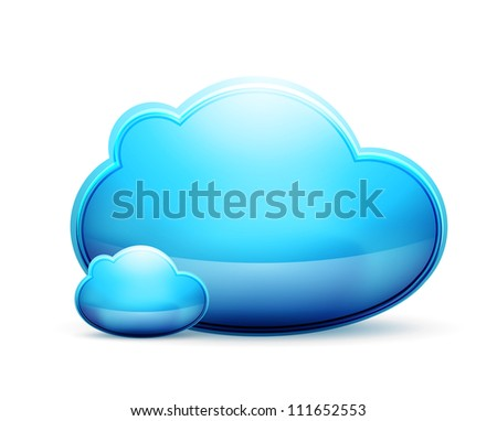 Blue clouds icon. Raster version of my vector illustration