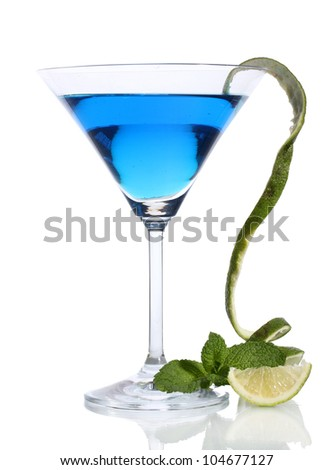 Blue cocktail in martini glass isolated on white