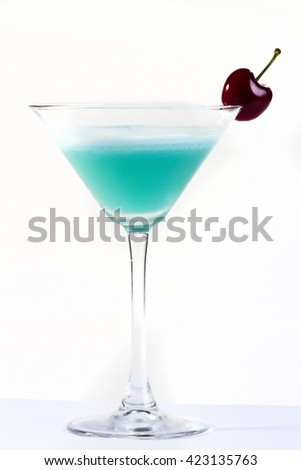 blue cocktail on white background
