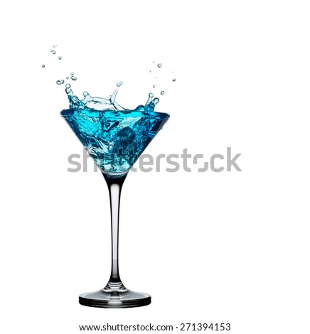 Blue cocktail splash from a glass