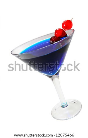 Blue cocktail with cherries in a martini glass.