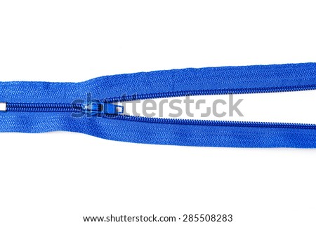 Blue colorful zipper collection isolated over white background.