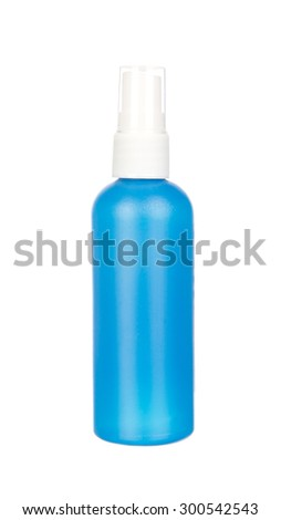 Blue container of spray bottle isolated on white background
