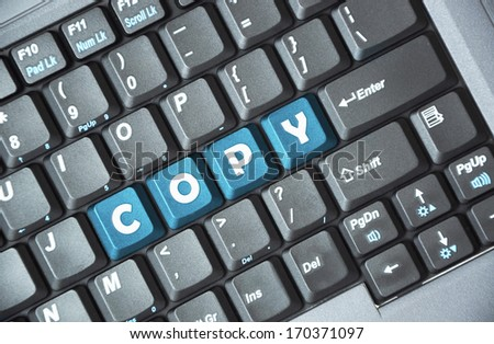 Blue copy key on keyboard