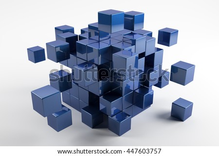 Blue cubes scatter in different directions. Abstract reflected objects 3D rendering