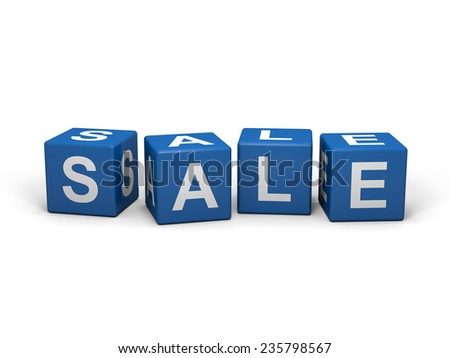 Blue cubes with sale letters on white backgound