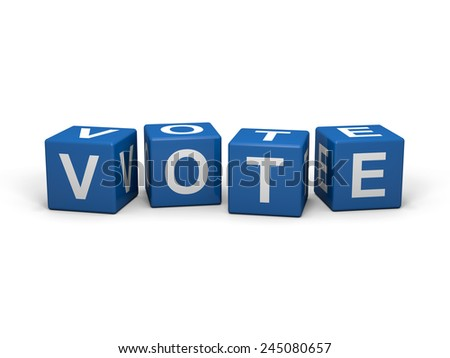 Blue cubes with vote sign on a white background