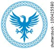 blue eagle (badge, design) - stock photo