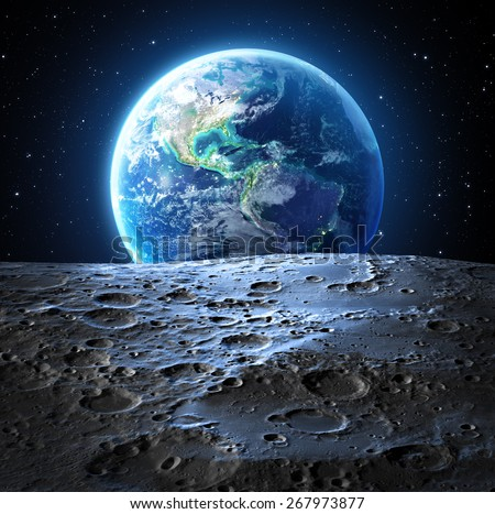 blue earth view from moon surface - Usa - Elements are furnished by NASA