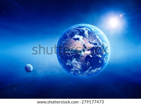 Blue Earth with sunrise in deep space -3D Render ( Elements of this image furnished by NASA  )