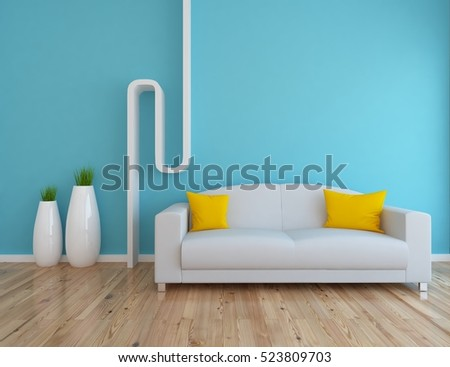 blue empty interior with a white sofa and vases 3d illustration
